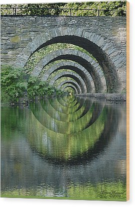 Stone Arch Bridge Over Troubled Waters - 1st Place Winner Faa Optical Illusions 2-26-2012 Wood Print by EricaMaxine  Price