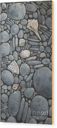 Stone Beach Keepsake Rocky Beach Shells And Stones Wood Print