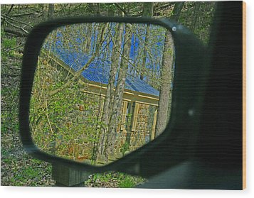 Wood Print featuring the photograph Stone Cabin Reflection by Andy Lawless
