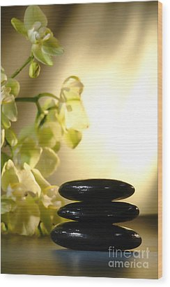 Stone Cairn And Orchids Wood Print