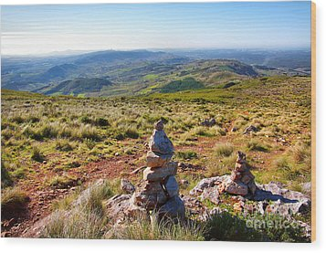 Stone Cairns Wood Print by Carlos Caetano