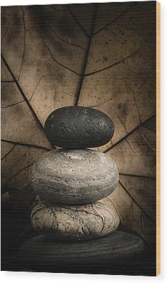Stone Cairns II Wood Print