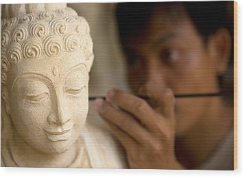 Wood Print featuring the photograph Stone Carver - Bali by Matthew Onheiber