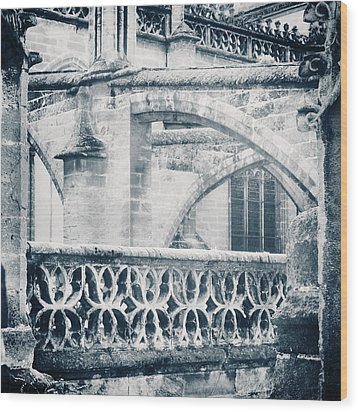 Stone Church Arches In Blue Wood Print by Angela Bonilla