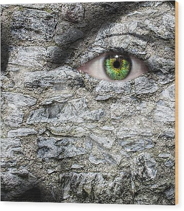 Stone Face Wood Print by Semmick Photo