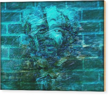 Stone Face Under The Water Wood Print by Lilia D
