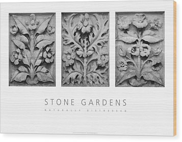 Wood Print featuring the digital art Stone Gardens 1 Naturally Distressed Poster by David Davies