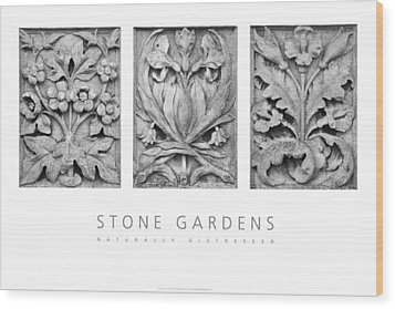 Wood Print featuring the digital art Stone Gardens 2 Naturally Distressed Poster by David Davies