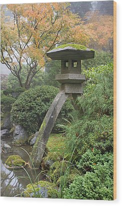 Wood Print featuring the photograph Stone Lantern In Japanese Garden by JPLDesigns