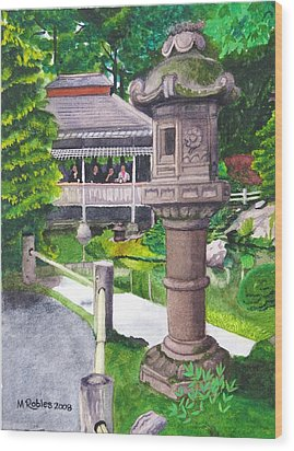 Stone Lantern Wood Print by Mike Robles