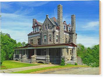 Wood Print featuring the photograph Stone Mansion Blue Sky by Becky Lupe