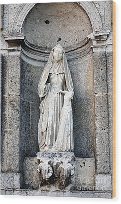 Stone Nun Wood Print by Olivier Le Queinec