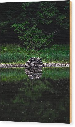 Stone Reflection Wood Print