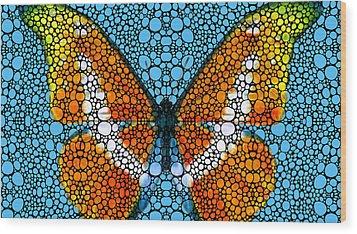 Stone Rock'd Butterfly By Sharon Cummings Wood Print by Sharon Cummings
