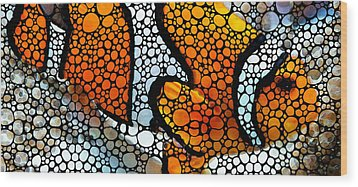 Stone Rock'd Clown Fish By Sharon Cummings Wood Print by Sharon Cummings