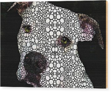 Stone Rock'd Dog By Sharon Cummings Wood Print by Sharon Cummings