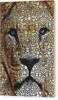 Stone Rock'd Lion 2 - Sharon Cummings Wood Print by Sharon Cummings