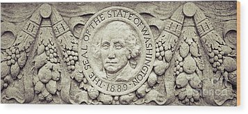 Wood Print featuring the photograph Stone Seal Of The State Of Washington by Merle Junk