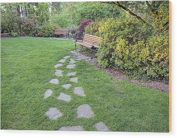 Stone Steps To Park Bench Wood Print by JPLDesigns
