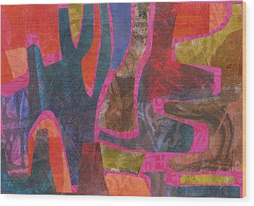 Wood Print featuring the mixed media Stone Tree Sunrise by Catherine Redmayne