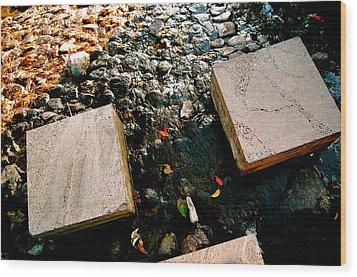 Stone Walking Wood Print by Yen
