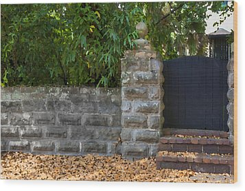 Stone Wall And Gate Wood Print by Rich Franco