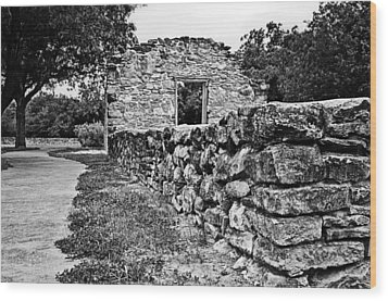 Wood Print featuring the photograph Stone Wall At Mission Espada by Andy Crawford
