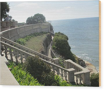 Stone Wall Over The Sea Wood Print by Vivien Rhyan