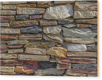 Stone Wall Wood Print by Paul Donohoe