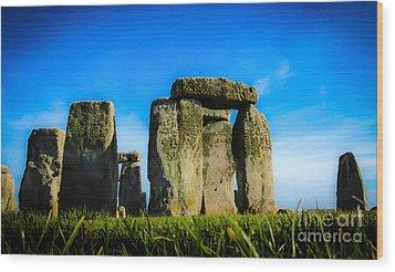 Stonehenge From The Earth Wood Print by David Warrington