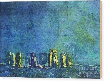 Stonehenge In Moonlight Wood Print