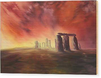 Wood Print featuring the painting Stonehenge In Wiltshire by Jean Walker