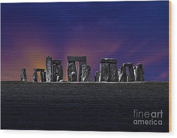 Wood Print featuring the photograph Stonehenge Looking Moody by Terri Waters