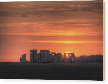 Stonehenge Sunset Wood Print by Simon West