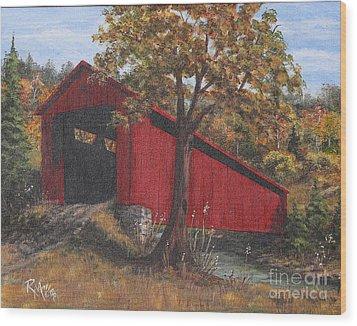 Stonelick Williams Corner Covered Bridge Clermont County Ohio 2 Wood Print by Rita Miller