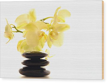 Stones And Orchid Wood Print by Olivier Le Queinec