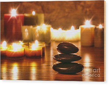Stones Cairn And Candles Wood Print by Olivier Le Queinec