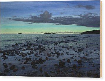 Stones In Water Wood Print by Oscar Karlsson