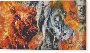 Stones On Fire 1 Wood Print by Dov Lederberg