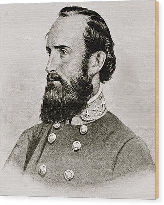 Stonewall Jackson Confederate General Portrait Wood Print by Anonymous