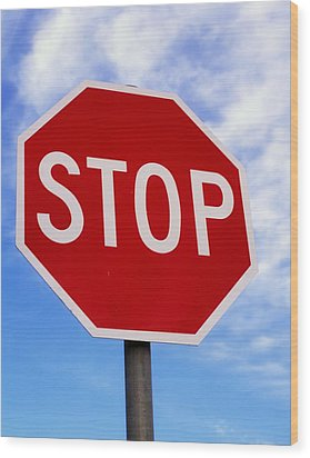 Stop Sign Ireland Wood Print by The Irish Image Collection