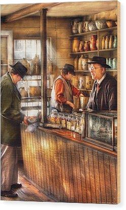 Store - Ah Customers Wood Print by Mike Savad