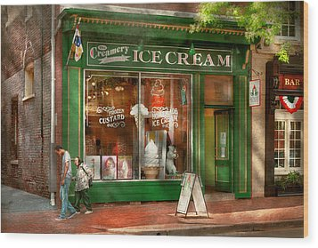 Store Front - Alexandria Va - The Creamery Wood Print by Mike Savad