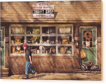 Store -  The Thrift Shop Wood Print by Mike Savad
