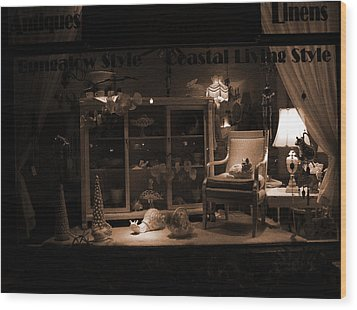 Store Window At Night Wood Print by Phil Penne