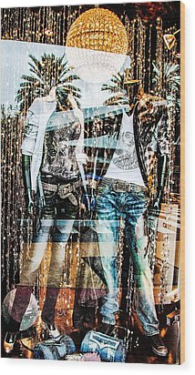 Store Window Display Wood Print by Rudy Umans