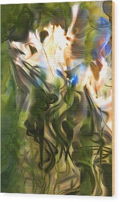 Wood Print featuring the digital art Stork In The Music Garden by Richard Thomas