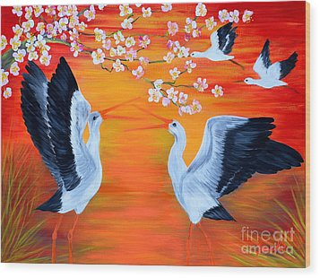 Storks And Cherry Blossom Wood Print