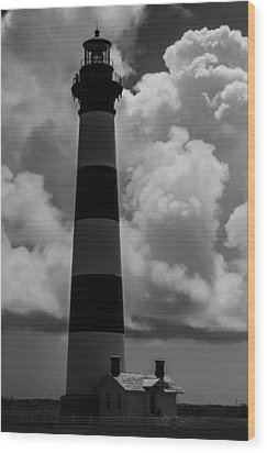 Storm At Bodie Light Wood Print