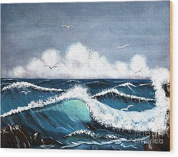 Storm At Sea Wood Print